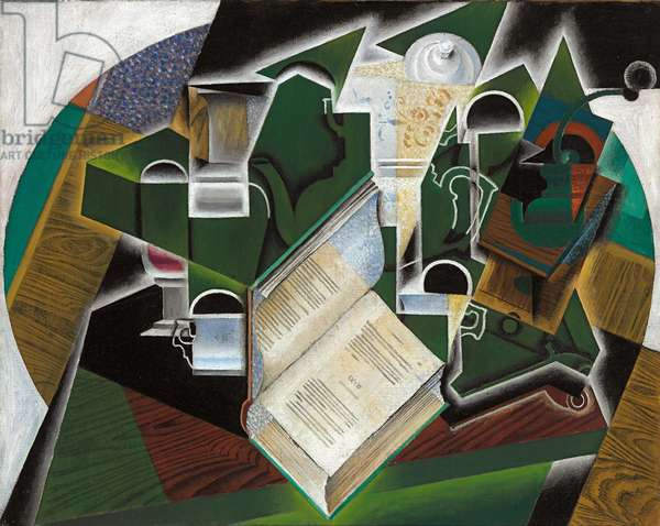 Book, Pipe and Glasses; Livre, pipe et verres, 1915 (oil on canvas)