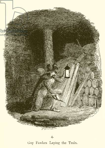 Guy Fawkes laying the train (engraving)