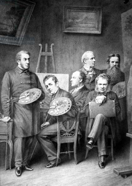 FAMOUS ARTISTS Fictitious group portrait of famous British artists. From left: J.M.W. Turner, David Wilkie, J.E. Millais, Edwin Henry Landseer, William Powell Frith, and Holman Hunt. Lithograph, 19th century.