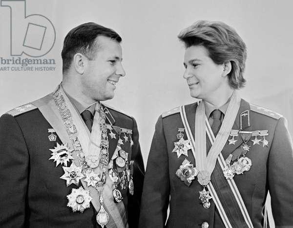 Cosmonauts Yuri Gagarin And Valentina Tereshkova In Moscow