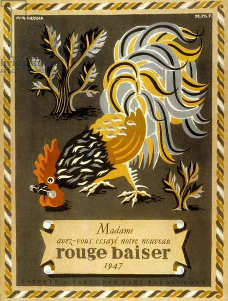 French advertisement for Rouge baiser lipstick, 1947 (colour litho)