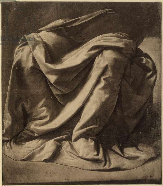 Study for the mantle of the Virgin in the Annunciation today housed in the Uffizi; watercolor and black heightened with white on very fine canvas, by Leonardo da Vinci. The Louvre, Paris