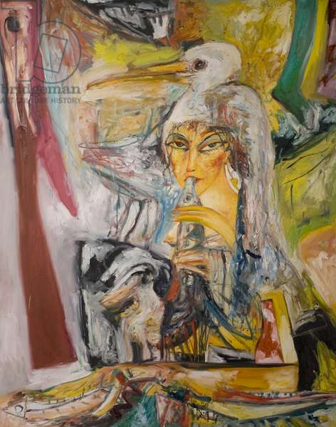 Woman with Fish, 1980 (oil on canvas)