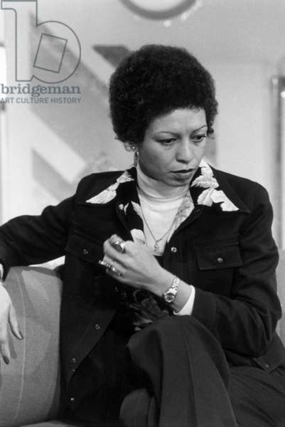 Angela Davis, Black Panthers Activist, and Member of The Communist Party here during A TV Programme on January 16, 1978 (b/w photo)