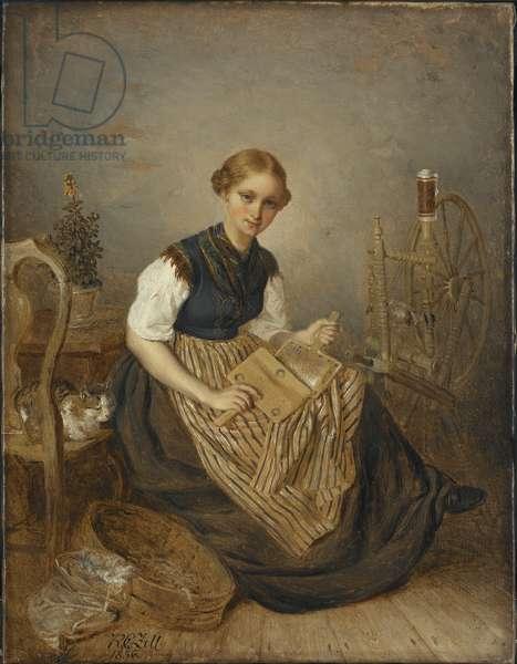 A Girl Carding, 1856 (oil on canvas)