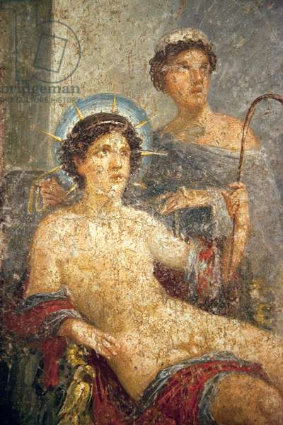 Detail of the Contest between Venus and Hesperus, with Apollo sitting in judgement, from the House of Gavius Rufus (VII 2, 16-17), Pompeii (fresco)