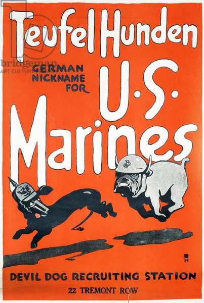Teufel Hunden U.S. Marines poster, c.1918 (colour litho)