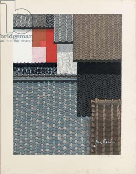 Untitled (Tile roofs of Nagoya) (woodcut)