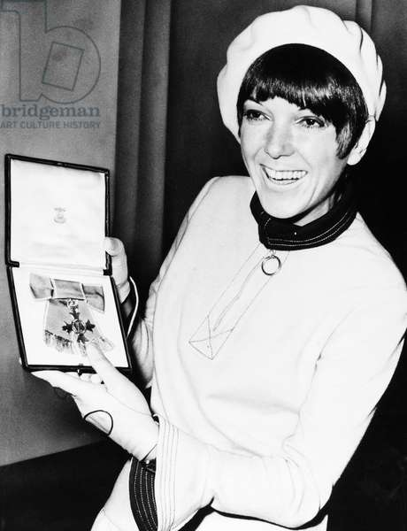 MARY QUANT (1934-) English fashion designer. Photographed with the Order of the British Empire.