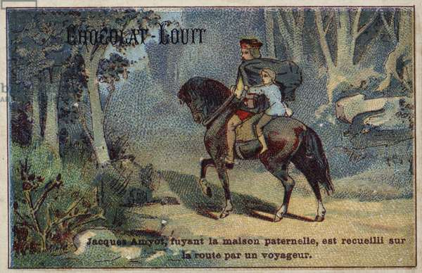 Fleeing his father's house, Jacques Amyot is picked up on the road by a traveller (chromolitho)