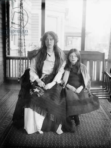 CHARLOTTE COLLYER (1880-1914). Widowed survivor of the sinking of the Rms 'Titanic.' Pictured with her daughter, Majorie, 1912.