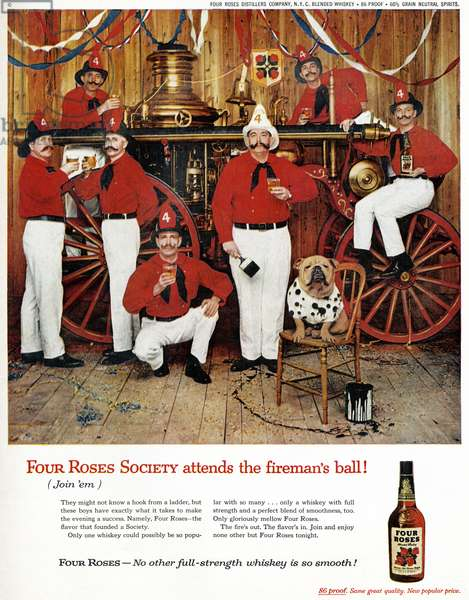 AD: WHISKEY, 1959 American advertisement for Four Roses Whiskey. Photograph, 1959.