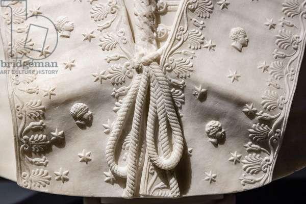 Pope Pius VII, detail of the mozzetta, 1804-5 (marble)