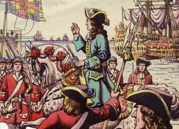 King William III landing at Carrickfergus (gouache on paper)