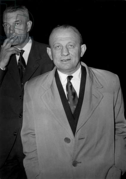 The General Gracieux at The Law Courts in Paris at Challe and Zeller Trial on May 29 , 1961 (Affair of The Military Putsch in Algiers during War in Algeria) (b/w photo)