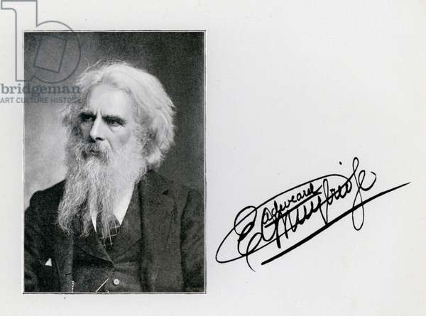 Eadweard Muybridge, portrait and signature (b/w photo)