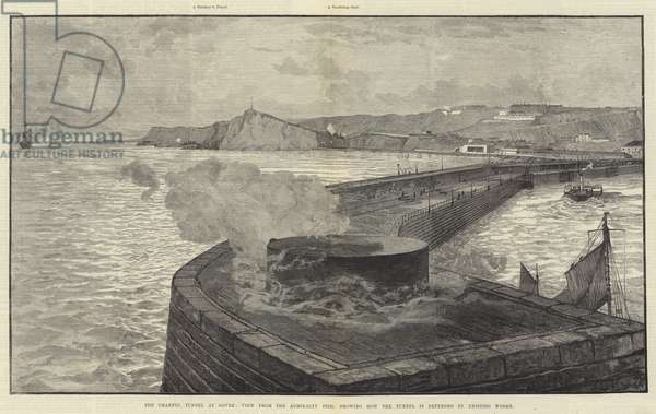 The Channel Tunnel at Dover, View from the Admiralty Pier, showing how the Tunnel is defended by Existing Works (engraving)