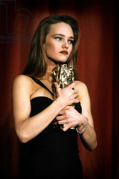 French Actress Vanessa Paradis Receiving French Film Award Cesar Best Promising Actress in Film Noce Blanche, March 5, 1990 (photo)
