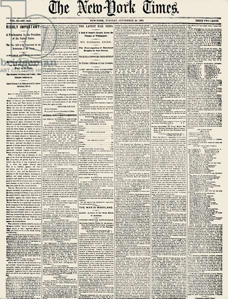 EMANCIPATION PROCLAMATION Front page of the New York Times, 23 September 1862, announcing, and printing the text of, Abraham Lincoln's Emancipation Proclamation.