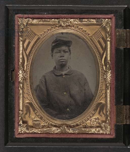 CIVIL WAR: SOLDIER, c.1865 Portrait of an African American soldier in a Union uniform. Tintype, c.1865.