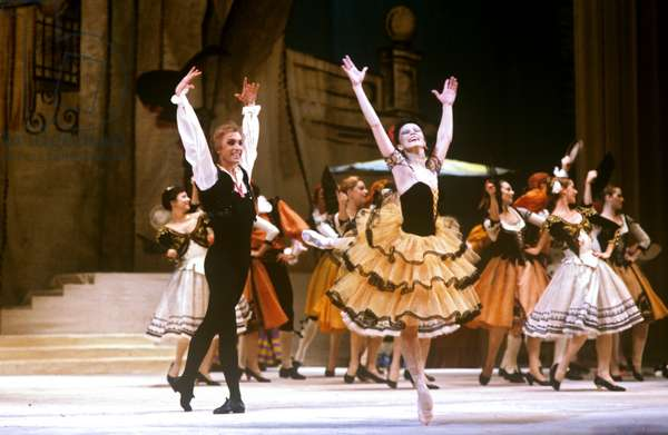 People's Artist of the USSR and principal dancer Nadezhda Pavlova (b.1953) as Kitri and People's Artist of the USSR Vyacheslav Gordeyev as Basilio performing a pas de deux in a scene from Act 1 of Ludwig Minkus' ballet 'Don Quixote' staged at the StateAcademicBolshoi Theatre of the USSR, 1985 (photo)