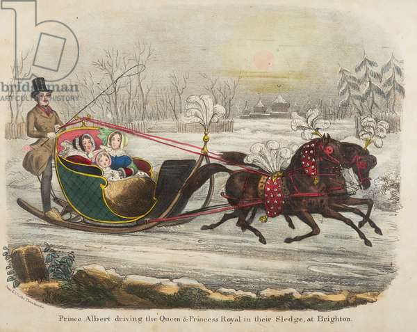 Prince Albert driving Queen Victoria in their sledge