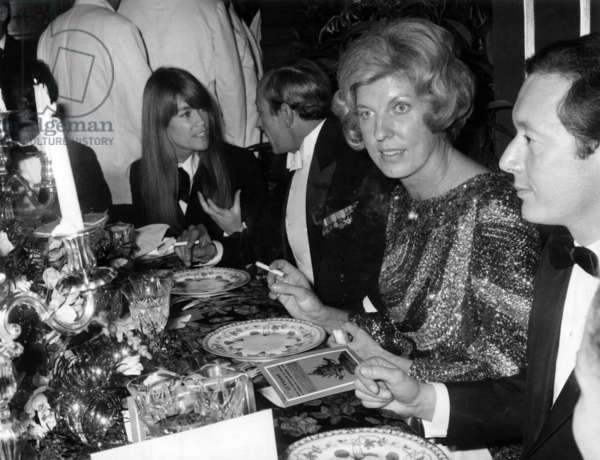Francoise Hardy (L) and Mrs Claude Pompidou at Diner November 17, 1966 (b/w photo)