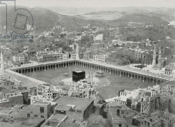 View of Mecca and the courtyard of the Great Mosque with the Ka'ba, Saudi Arabia, photo from L'Illustration, No 3428, November 7, 1908