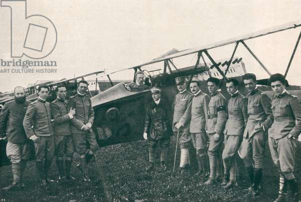 WWI 9 August 1918-The squadron 'Serenissima' the general Bongiovanni and Major Gabriele d'Annunzio between the pilots of the 'Serenissima'