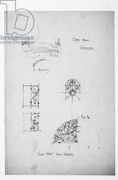 Vicenza, at left A Balcony, and below, Some Wrot [sic] Iron Work, 1891 (pencil on paper)