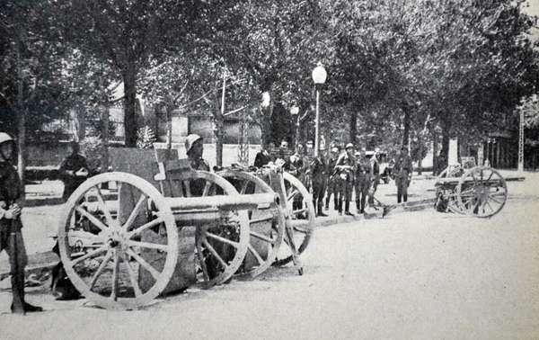 Spanish Civil War: Nationalist army with artillery in Zaragoza 1937