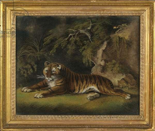 Tiger in a Jungle Landscape (sand-picture on board)