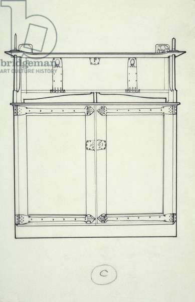 Line drawing of furniture (a cabinet), c.1910 (ink on paper)
