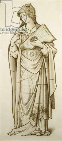 Muse of Lyric Poetry - Cartoon for Stained Glass, c.1890 (w/c on paper)