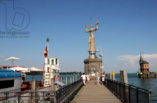 Konstanz harbour at Lake Constance with 'Imperia', a statue by sculptor Peter Lenk, which was erected in 1993, Baden-Wuerttemberg, Germany, 2013 (photo)