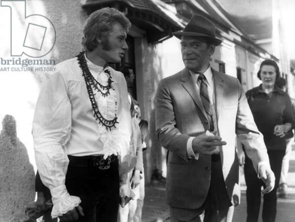 Eddie Constantine and Johnny Hallyday on Set of Film The Great Chase October 21, 1967 (b/w photo)