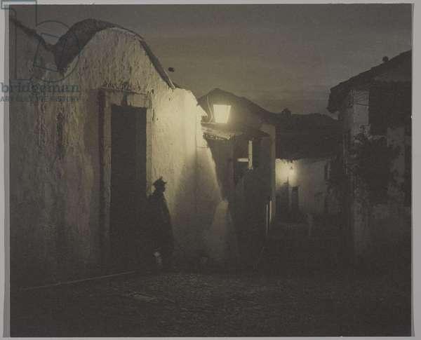 Moonlight and Lanterns (b/w photo)