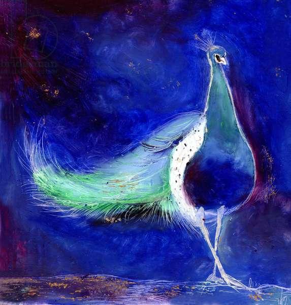 Peacock Blue, 2013, (oil & gold leaf on card)