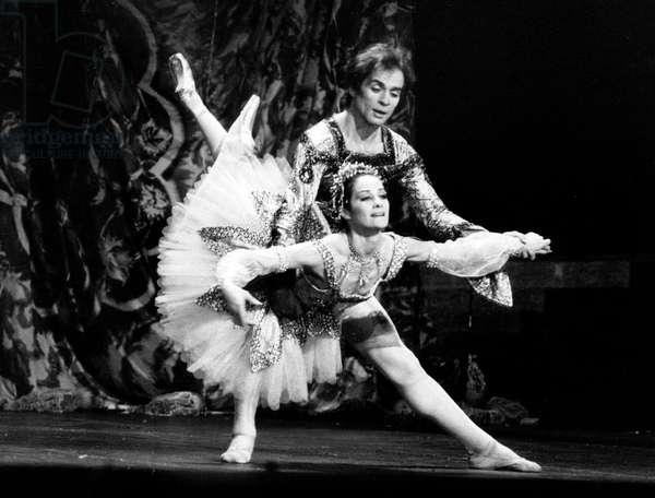 Rudolf Nureyev and Noella Pontois Performing Ballet Raymonda at Paris Opera November 07, 1983 (b/w photo)