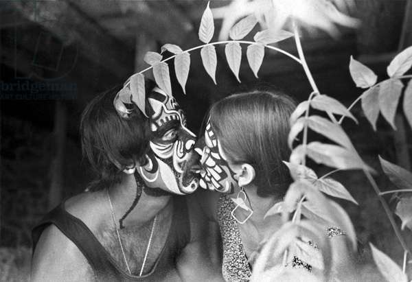 A Painted Kiss In The Bushes (b/w photo)