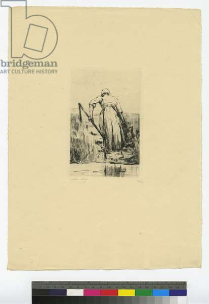 Dutch peasant woman with bucket (ink on paper)