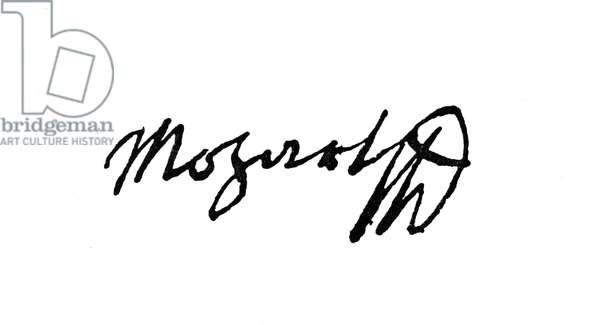 MOZART: AUTOGRAPH Wolfgang Amadeus Mozart's autograph signature.