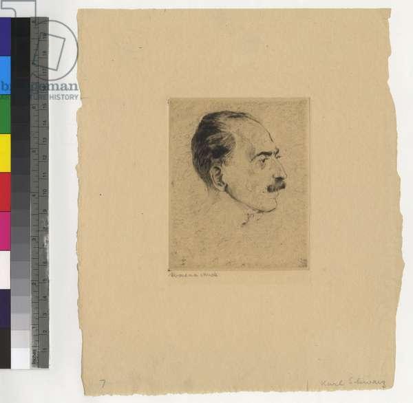 Portrait of Karl Schwarz, c.1920 (etching, ink on paper)