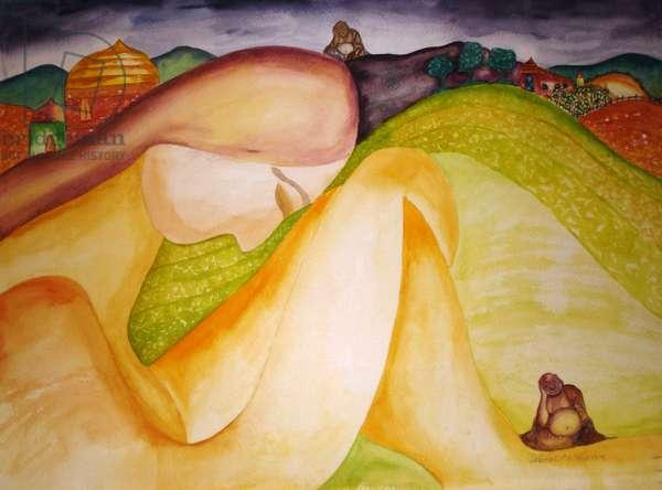 Buddha Hills, 1995, (watercolor)