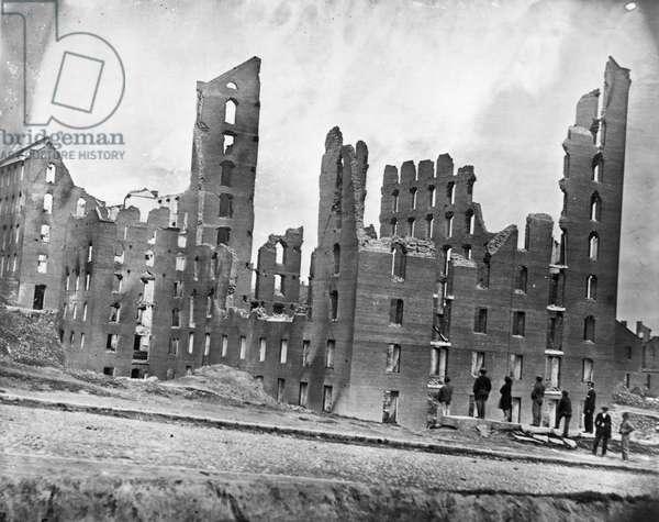 CIVIL WAR: RICHMOND, 1865 Ruins of the Gallego Flour Mill at Richmond, Virginia following the American Civil War. Photograph by Alexander Gardner, April 1865.