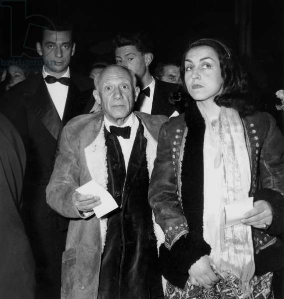 Artist Pablo Picasso With his Companion Francoise Gilot and Actor Yves Montand at Premiere of Film The Wages of Fear at Cannes Film Festival April 16, 1953 (b/w photo)