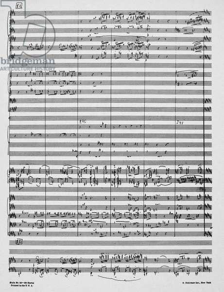 RACHMANINOFF: MANUSCRIPT Autograph manuscript page of Sergei Rachmaninoff's 'Concerto No.4 for piano and orchestra', 1926.