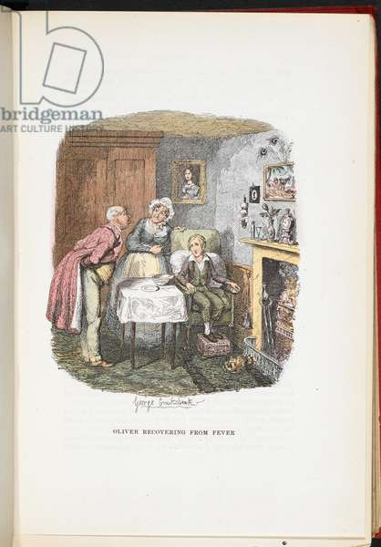 Oliver recovering from fever, from The Adventures of Oliver Twist ... With twenty-four illustrations by Cruikshank, 1911 (colour litho)