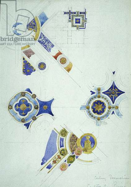 Ceiling Decoration, Certosa di Pavia, 1891 (pencil and watercolor on paper)