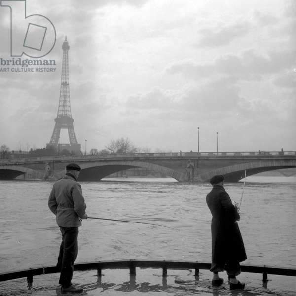 Fishermen during the floods of the Seine, (Photography) 1952